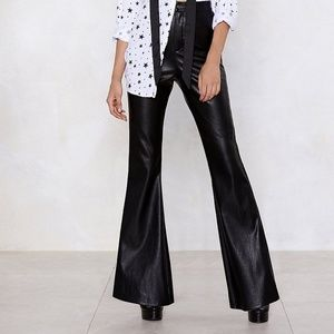 NASTY GAL Faux Leather  Flare Pants